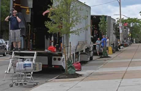 Movie trailers blocked parking spaces in South Boston, which has a complicated relationship with the parade of films and TV shows that shoot there.